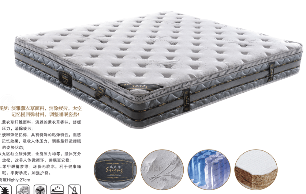 Rayson Mattress-Highly 27 Cm Foam Pocket Spring Hotel King Size Orthopedic Mattress Discount cheap m-2