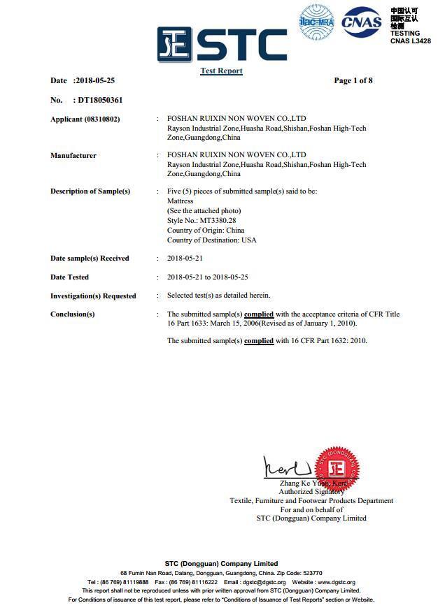 US 1632/1633 Fire Resistant Cerfiticate