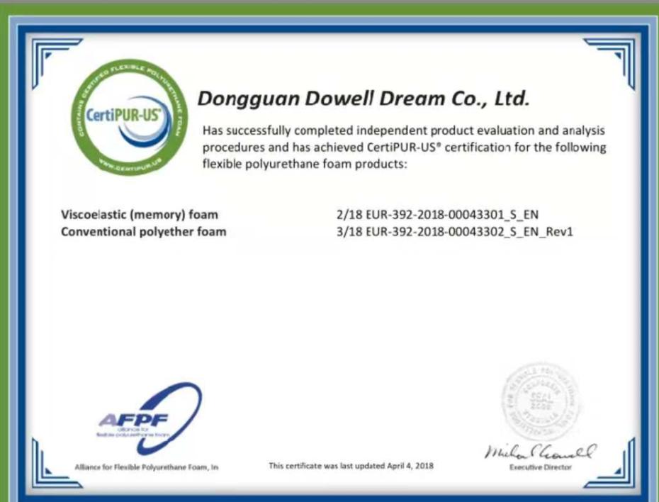 Foam CertiPUR-US certificate
